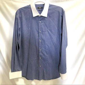 Hugo Boss Men's Dress Shirt Blue Pinstrip